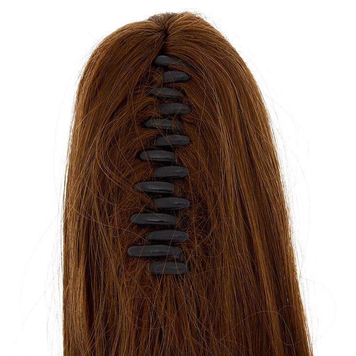 Extensions ultra longues en cheveux synthétiques châtain foncé avec pince,