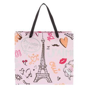 Sac cadeau de taille moyenne rose Paris,