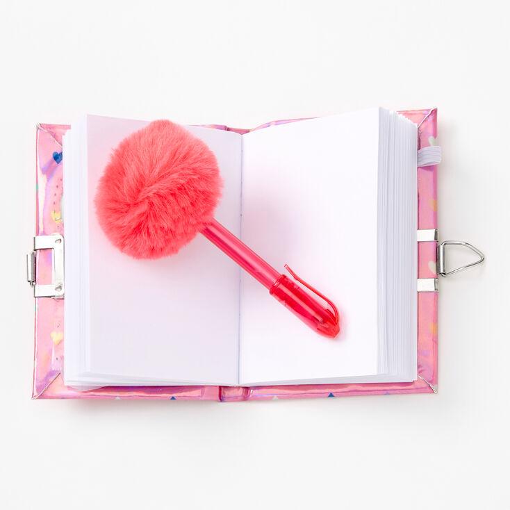 Claire's Club Shaker Hearts Mini Lock Diary - Pink,