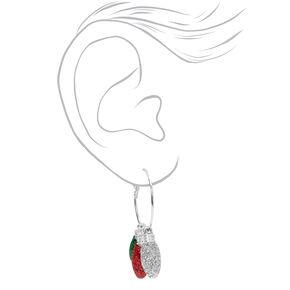 Silver 30MM Glitter Lights Hoop Earrings,