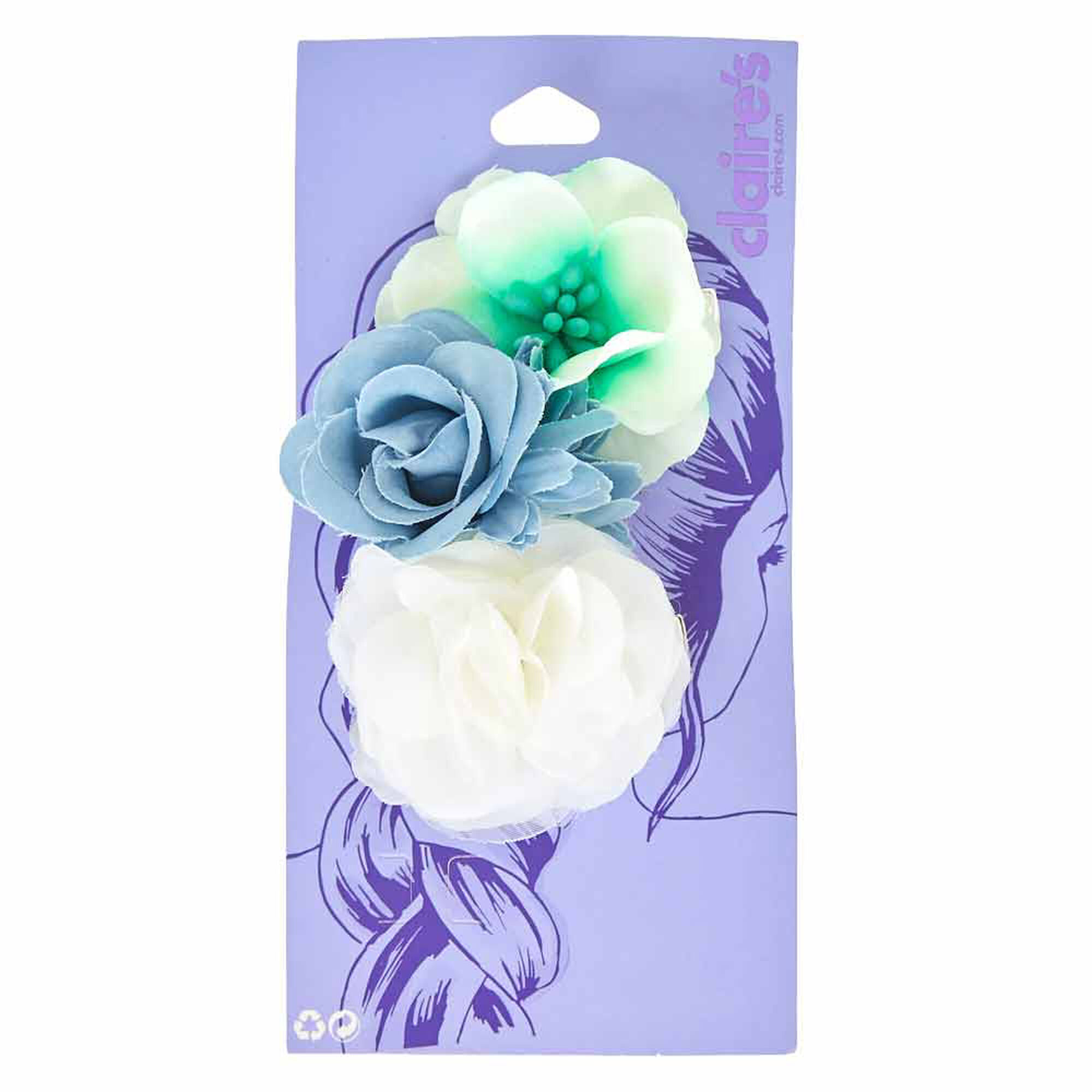 Denim Mint And White Flower Hair Clips Claires Us