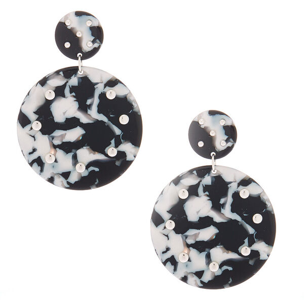 "Claire's - 2"" black & resin circle drop earrings - 1"