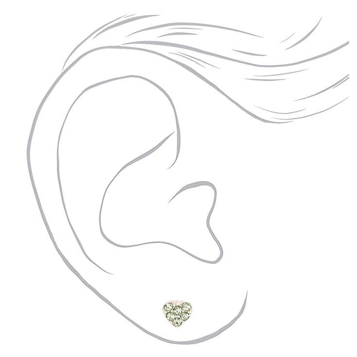Silver Pastel Heart Magnetic Stud Earrings - 6 Pack,
