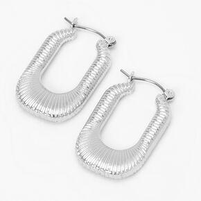 Silver 30MM Textured Oval Hoop Earrings,