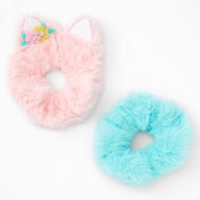 Claire's Club Medium Faux Fur Fox Hair Scrunchie - 2 Pack,