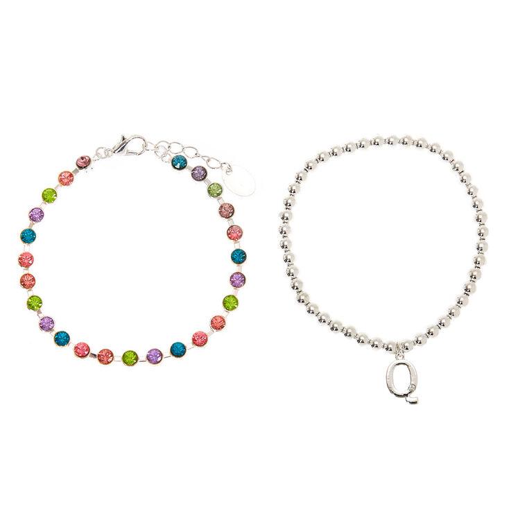 Coffret cadeau parure de bijoux à initiale Q arc-en-ciel couleur argenté - Lot de 4,