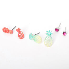 Silver Rainbow Pineapple Stud Earrings - 3 Pack,