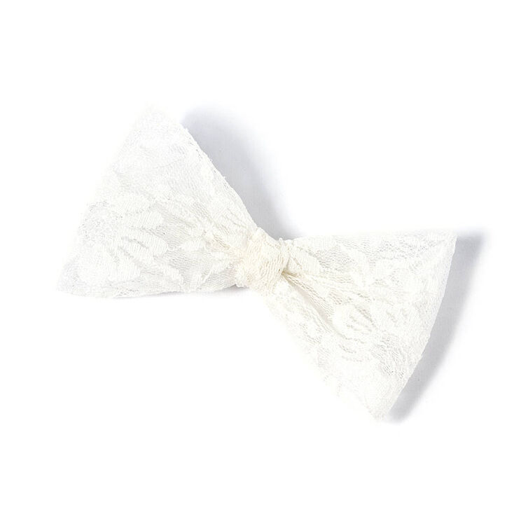 Oversized Lace Bow Hair Clip - White  63a3ebd0771