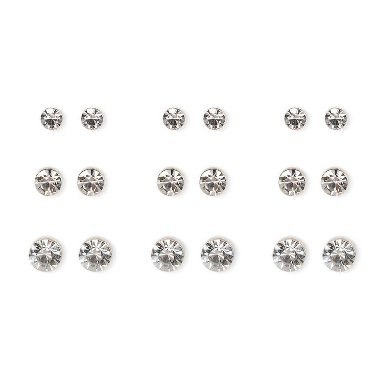 Silver Graduated Round Crystal Stud Earrings