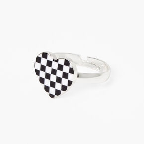 Silver Glow In The Dark Checkered Heart Ring,