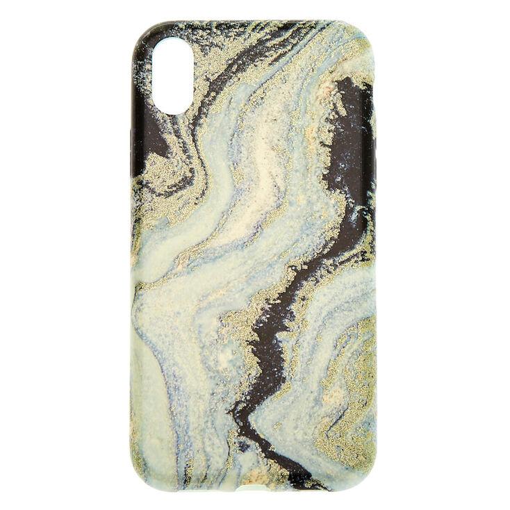 Black & Silver Glitter Agate Phone Case - Fits iPhone XR,