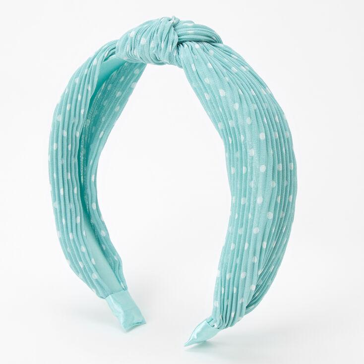 Polka Dot Pleated Knotted Headband - Mint,