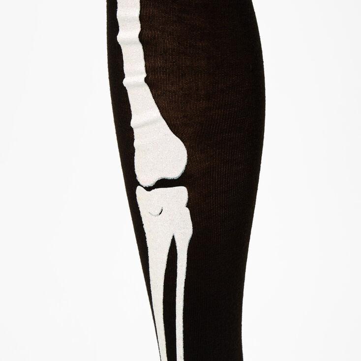 Skeleton Leg Over The Knee Socks - Black,