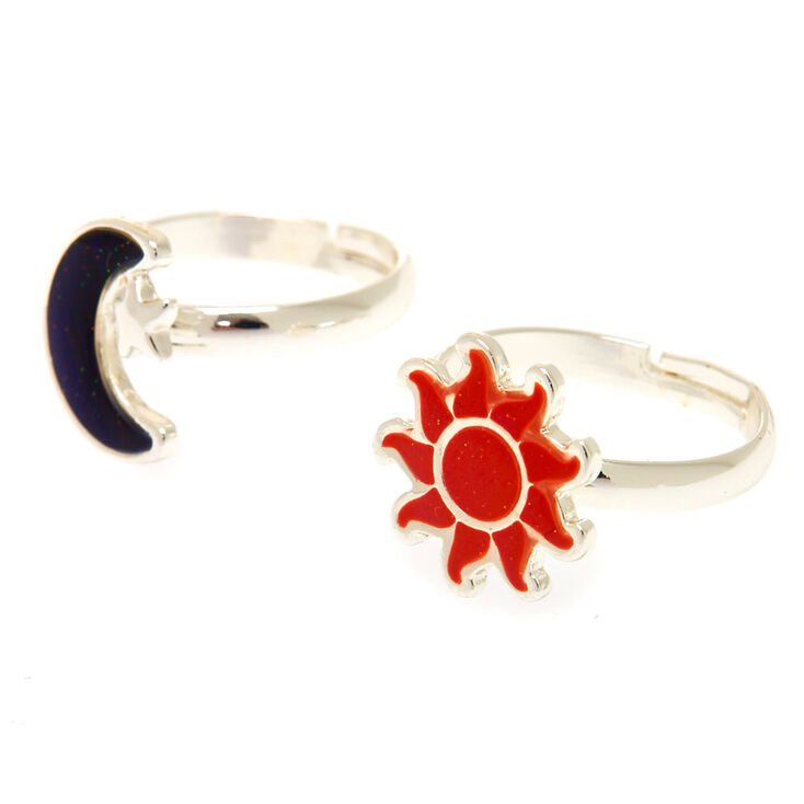 Silver Best Friends Sun & Moon Mood Rings - 2 Pack,