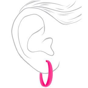 60MM Rubber Hoop Earrings - Neon Pink,