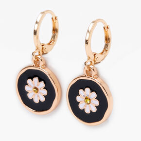 Gold 10MM Daisy Huggie Hoop Earrings - Black,