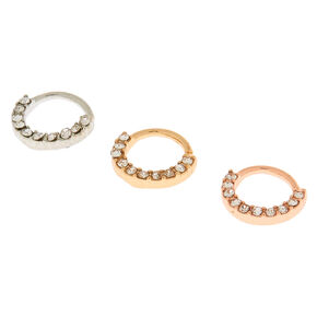 Mixed Metal 20G Mini Crystal Cartilage Hoop Earrings - 3 Pack,