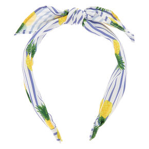 Pineapple Stripe Knotted Bow Headband - Yellow,