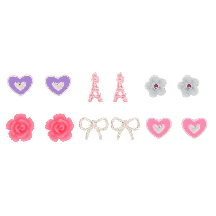 Parisian Love Stud Earrings - Pink, 6 Pack,