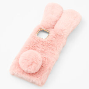 Furry Pink Bunny Phone Case - Fits iPhone 12/12 Pro,