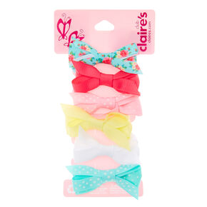 Claire's Club Pastel Bow Hair Clips - 6 Pack,