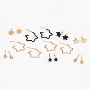 Mixed Metal Star Stud & Hoop Earrings - 9 Pack,