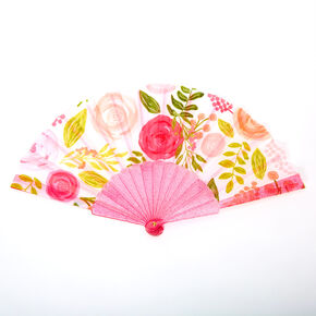 Floral Rose Folding Fan - Pink,