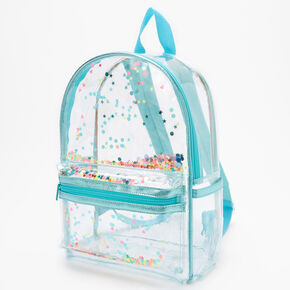 Transparent Shakey Confetti Backpack - Aqua,