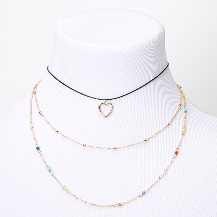 Gold Rainbow Heart Multi Strand Cord Choker Necklace,