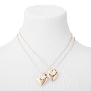 Colliers best friends «Sœurs» à pendentifs médaillons en forme de cœur - Lot de 2,