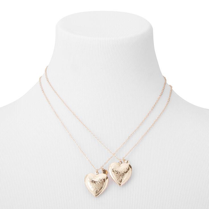 Best Friends Sisters Heart Locket Pendant Necklaces - 2 Pack,