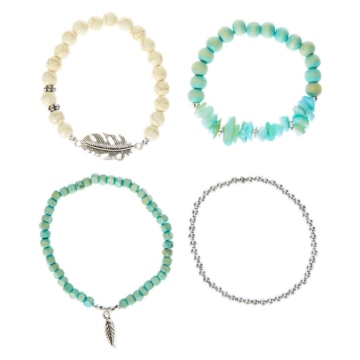 Wooden Bead Stretch Bracelets - Turquoise, 4 Pack,