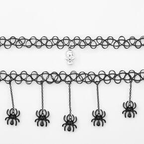 Ras-de-cou effet tatouage crâne araignée - Noir, lot de 2,