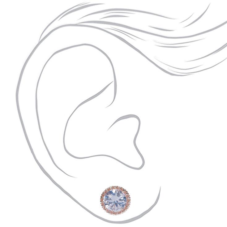 Rose Gold Cubic Zirconia Round Vintage Stud Earrings - 8MM,