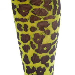 Neon Leopard Print Knee High Socks - Yellow,