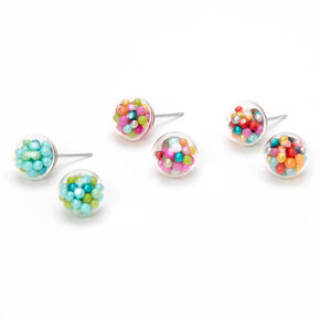 Silver Multi-Colored Bead Shaker Stud Earrings - 3 Pack,