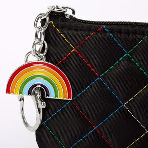 Rainbow Stitched Quilted Coin Purse - Black,