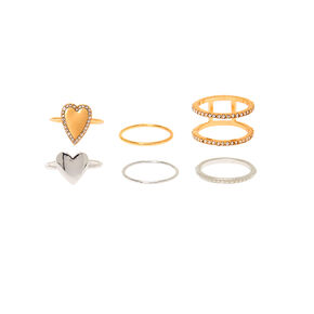 Mixed Metal Heart Rings - 6 Pack,