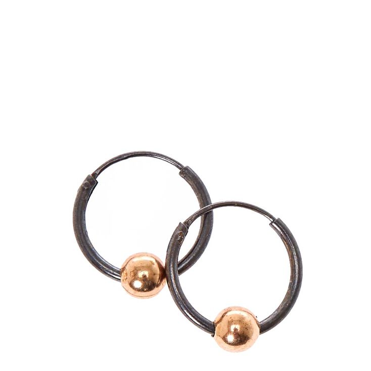 925 Sterling Silver Rose Gold Ball Hoop Earrings