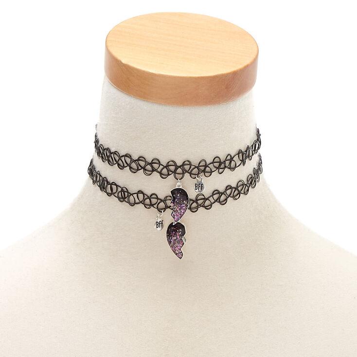 Best Friends Glitter Heart Tattoo Choker Necklaces - 2 Pack,