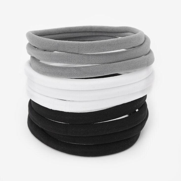 Black, Gray, & White Rolled Hair Ties - 10 Pack,