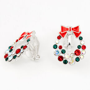 Silver Rhinestone Wreath Clip On Earrings,