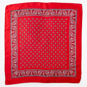 Floral Paisley Silky Bandana Headwrap - Red,