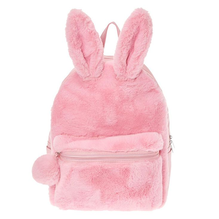 e63814a56db7 Furry Pink Bunny Backpack