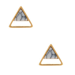 18kt Gold Plated Marbled Triangle Stud Earrings,