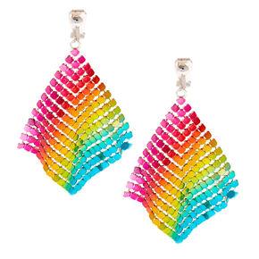 "Silver 2.5"" Rainbow Mesh Chain Clip On Drop Earrings,"