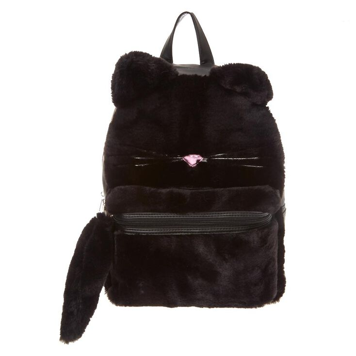 5b6b9ef835cb Furry Black Cat Backpack