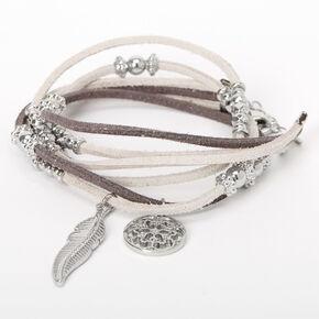Bracelet double tour de poignet avec breloques plumes - Gris,
