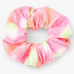 Chouchou craquelé rose et vert de taille moyenne,