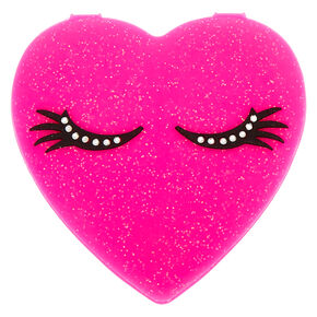 Silicone Heart Compact Mirror - Pink,